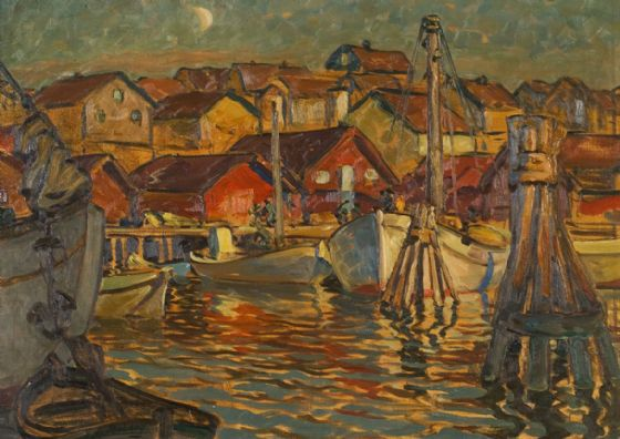 Boberg, Anna: A Fishing Harbour, North Norway. Fine Art Print/Poster (5455)